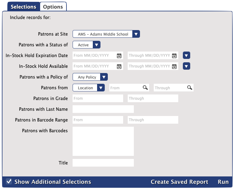 In-Stock Holds report's Selections tab